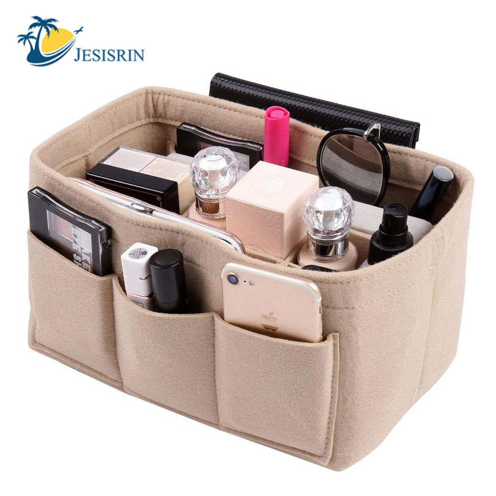 Felt Cloth Insert Storage Taske, Makeup Storage Organizer - Hjem opbevaring og organisation