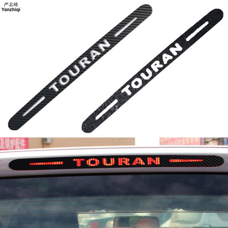 For Volkswagen <font><b>VW</b></font> <font><b>Touran</b></font> Carbon Fiber Rear Additional Brake Light Car <font><b>Sticker</b></font> Decoration Cover <font><b>Stickers</b></font> Brake Lamp <font><b>Sticker</b></font> 1PC image