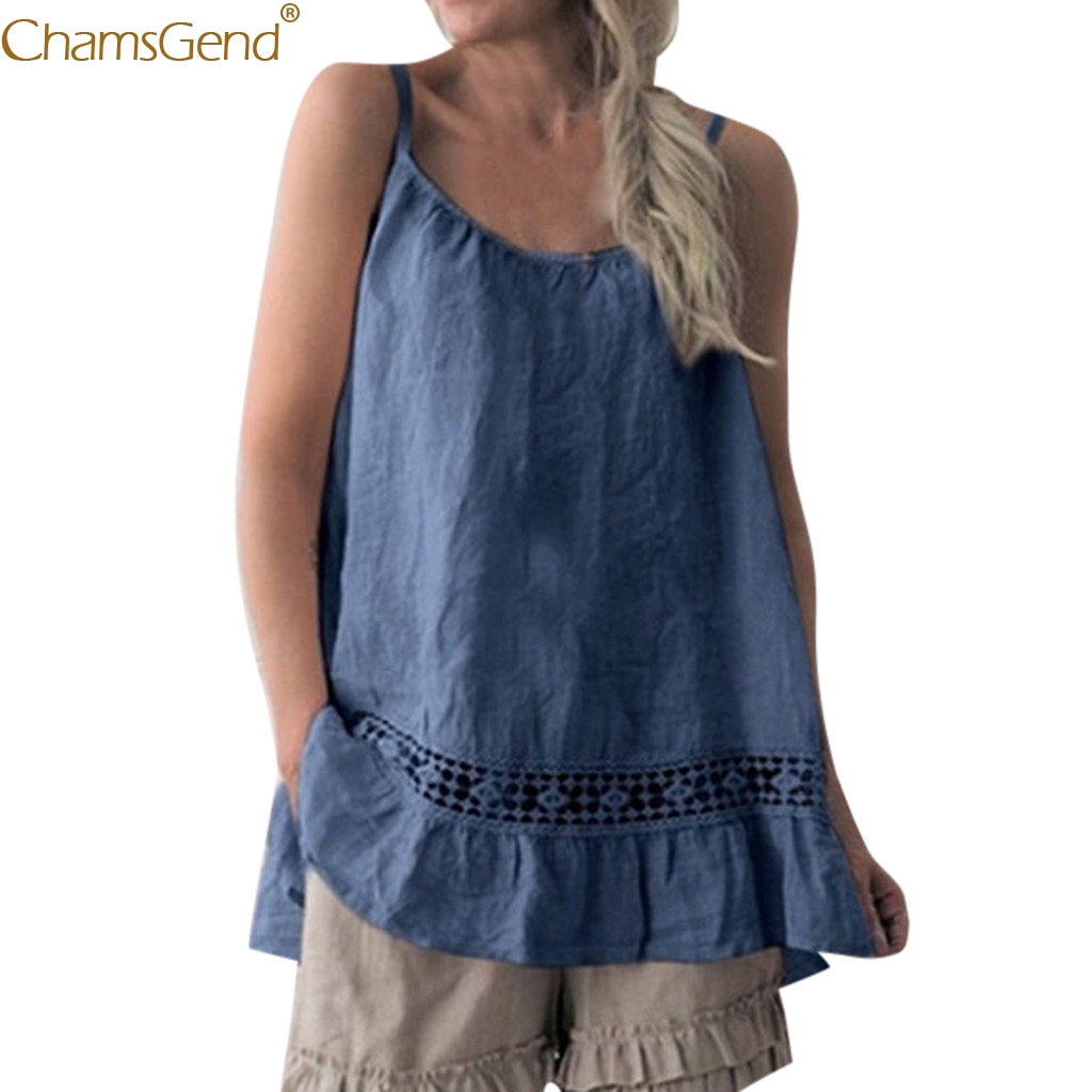 Women tank top Sleeveless women tank tops 2019 Casual O-Neck Cotton and linen Polyester O-Neck Summer women tank top xl Mar14