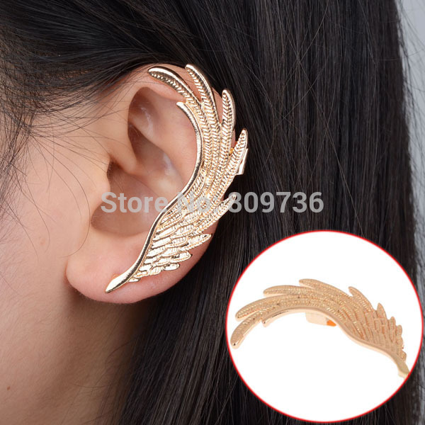 2015 Hot Fashion Single Girl ear cuff earrings 1PC Angel Wings feather golden ear clips for