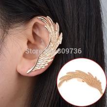 Один девочка уха серьги каффы 1 пк ангел крылья перо золотой уха для женщины левосторонние уха панк ювелирные изделия подарок