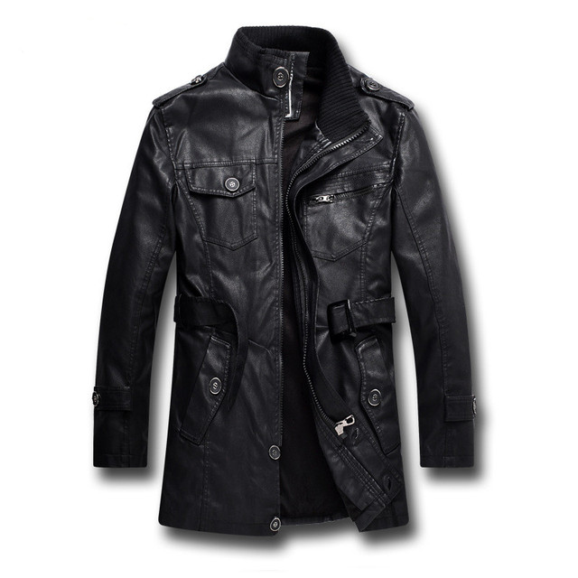 Men's casual Slim Plus velvet leather high quality coat New Arrivals men's Stand collar leather jacket long sections