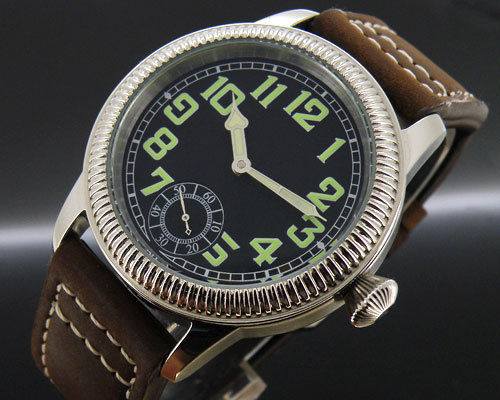 44mm parnis greenl luminous number black dial 6498 hand winding Watch