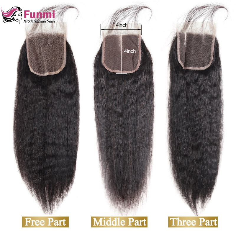Funmi Indian Virgin Hair Lace Closure With Baby Hair Yaki Straight Human Hair Weave 4''x 4'' Lace Closure Free Middle Three Part