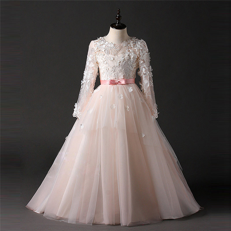 Pink   Flower     Girl     Dresses   For Weddings 2018 Vestidos daminha Kids Pageant Gowns Bow Princess First Communion   Dresses   For   Girls