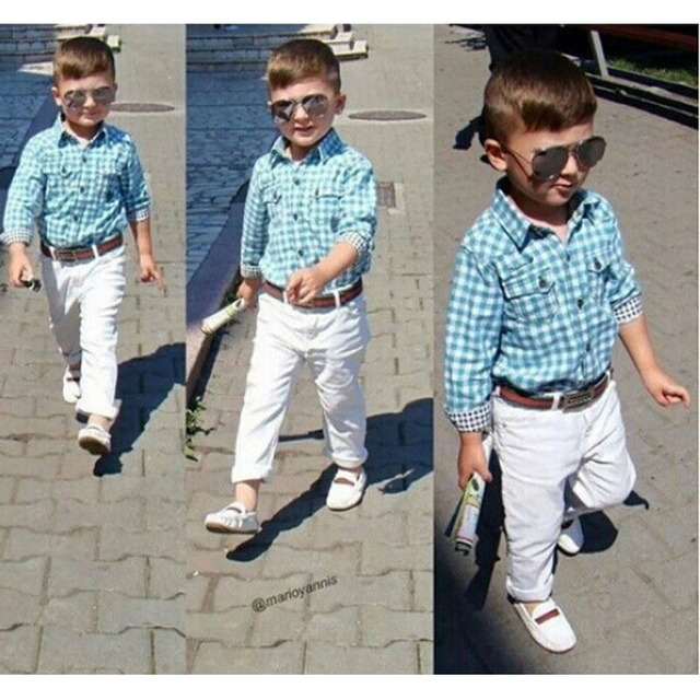 225a19641e New Europe And America Style Fashion 3pcs Boy Sets Blue Plaid Shirt+White  Pants+Belt Spring Boys Outfit Leisure Clothing Set