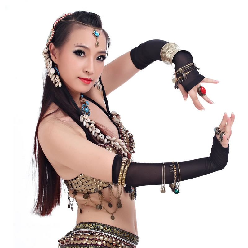 2018 Women Tribal Belly Dance Costume Gypsy Dance Accessories Black Lady Sexy Sleeve Mesh Sleeves Gypsy Jewelry