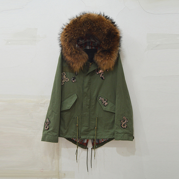 Brown fur collar hood with new design womne coat Snake armband cool Fall jacket