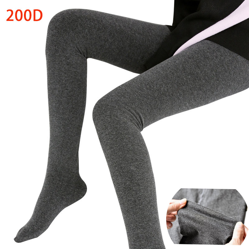 a8307d0b5f3 New Winter Autumn Warm Tights Pantyhose High Elasticity Black Stripe  Hosiery Collant Femme 200D Thick Women s Stockings Warmer