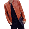 New Arrival Fashion Men Slim Leather Suede Solid Overcoat  Full Sleeve Stand Collar Jacket Casual Clothes Hot Leather Tops