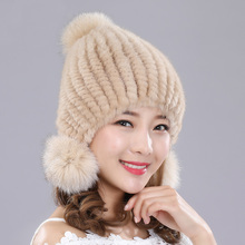 Glaforny Imported knitted mink fur hat real fur Hats winter