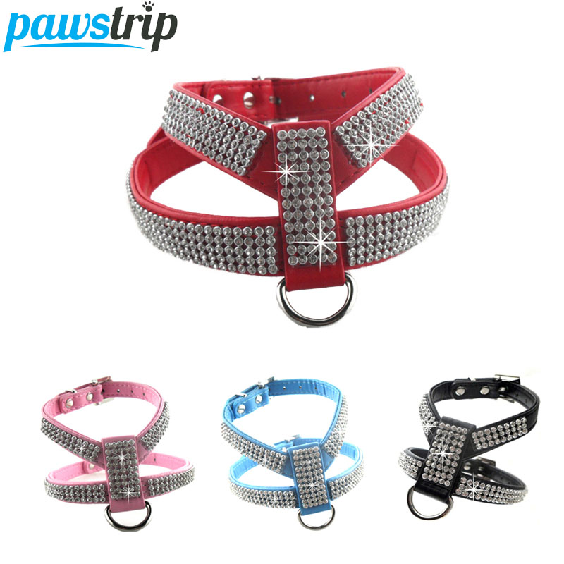 4 colores de lujo Bling perro mascota arnés PU cuero diamante perro - Productos animales