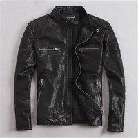 100% Natural Goat Skin Leather Jacket Men Spring Autumn Short Slim Motocycle Bomber Jackets casacas de cuero