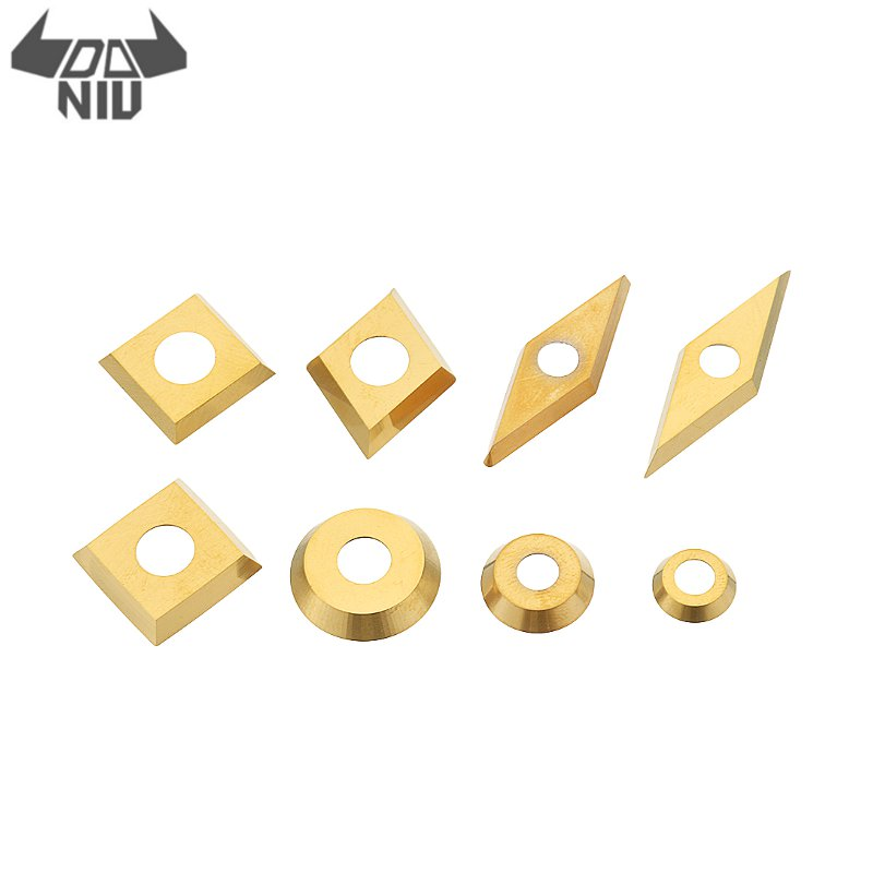 DANIU 1Pcs 8 Types For Choose Gold Titanium Coated Wood Carbide Insert Milling Cutter For Wood Turning Tool Woodworking