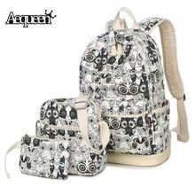 Aequeen 3 шт. печати рюкзак Винтаж холст Bookbags Повседневное Дорожные сумки для подростков модная одежда для девочек студенческие женские pack