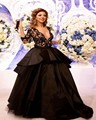 2017 Free Shipping Hot sale Cheap Arabic myriam fares dress 3/4 sleeve Ball gown Black V-neck celebrity dresses