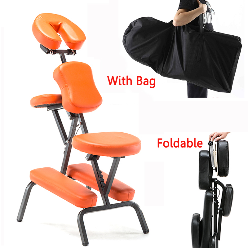 цена Portable Leather Pad Massage Chair Folding Adjustable Tattoo Scraping Chair With Armrest High Quality Beauty Bed with bag в интернет-магазинах