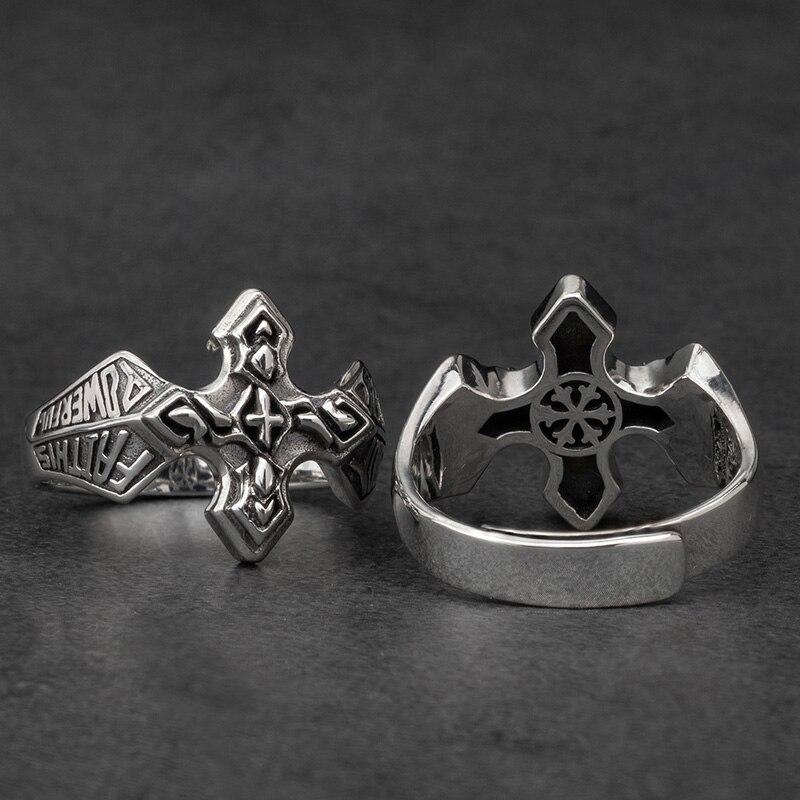 Bagues en argent croix pour homme bijoux de mode en argent Sterling Vintage - 3