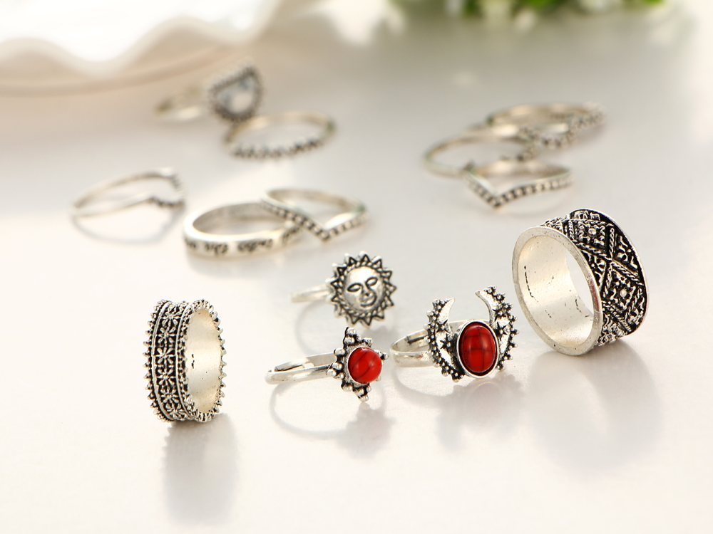 HTB1K__lQXXXXXcDXXXXq6xXFXXXx Hip 14-Pieces Tribal Boho Vintage Silver Moon And Sun Knuckle Ring Set For Women