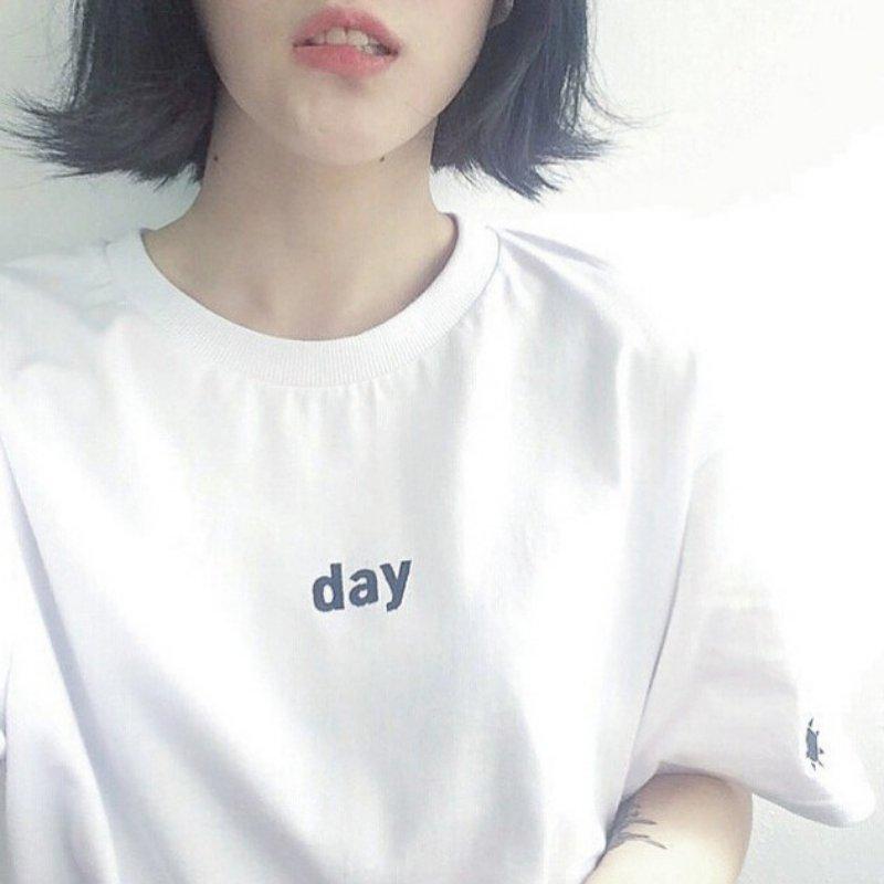 Musim panas Wanita T-shirt Harajuku gaya Hari dan Malam Bordir - Pakaian Wanita - Foto 4