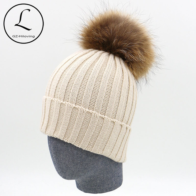 df1858b4c68f7e Big Pompoms Custom Knitted Pom Beanie Hat For Women/Men Europe Style  Natural Raccoon Fur Winter Warm Hats China-factory-direct