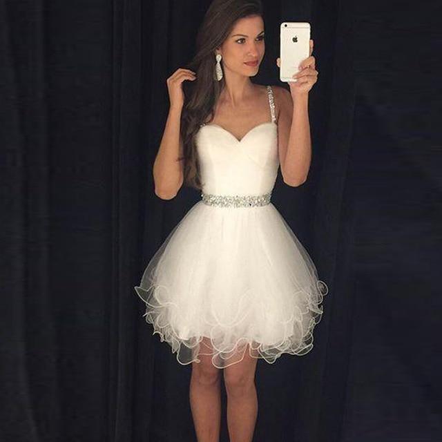 Precioso Beige Cortos Vestidos De Baile 2017 Nueva Correa De
