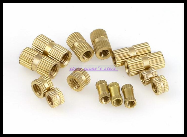 500pcs/Lot Metric Thread <font><b>M2x5mm</b></font>(L)-3.5mm(OD) Brass Knurl Nuts Embedded Parts Copper Knurl Nut Brand New image