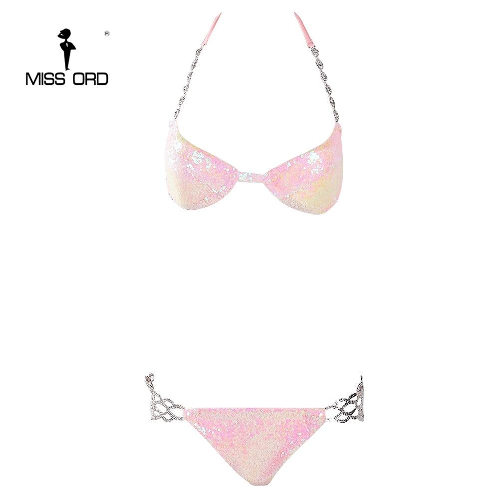 Missord 2019 Sexy harnais chaîne en métal sequin bikini couleur rose body FT8158