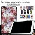 Уникальный дизайн Цвет Окрашенные Магнитный Smart Cover Для Huawei MediaPad М3 BTV-W09 BTV-DL09 8.4 дюймов Tablet PU Кожаный Чехол + подарок