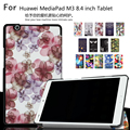 Unique design Color Painted Magnetic Smart Cover For Huawei MediaPad M3 BTV-W09 BTV-DL09 8.4 inch Tablet PU Leather Case + Gift