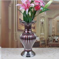 17.4X17.4X39.7cm Europe Retro metal flowers vases With water container for weddings Table vase Home decoration vase gift HP078B