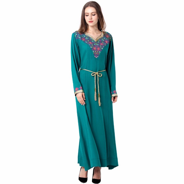 ed8a246e1c178f Moslim vrouwen Kaftan caftan herfst Maxi Lange mouw lange Jurk marokkaanse  kleding Islamitische abaya borduren Casual