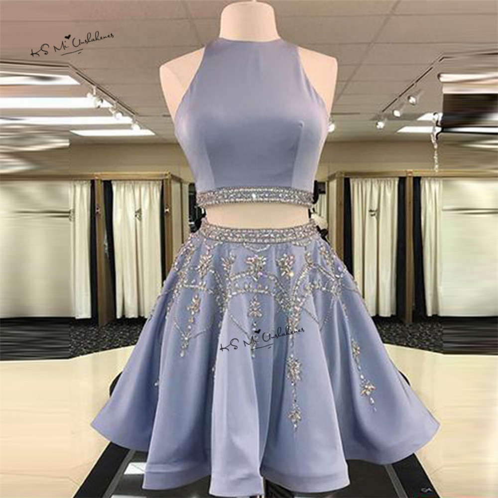 Modest Blue Two Piece   Prom     Dresses   2017 Crystals Beads Short Evening Party Gowns Vestidos de Baile Curto Homecoming   Dress   Gala