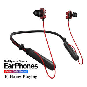 Dual Dynamic Sport Bluetooth Headphones 4.1 In-Ear Wireless Earphone Neck Collar Playing 10 Hour Headset For iphone huawei BX345