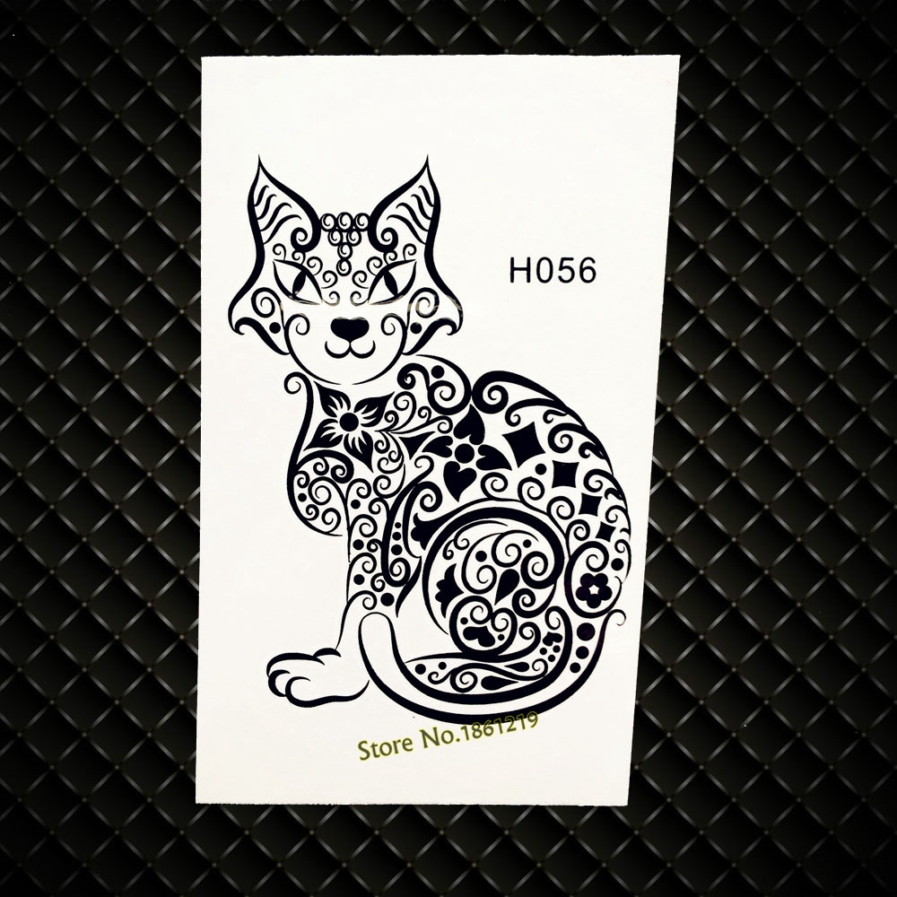 Black Cat Designs Temporary Tattoo Women Body ARm Legs Fake Flash Tattoo Sticker GH056 Henna Temporary Sticker Flower Jewelry