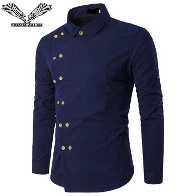 VISADA JAUNA 2018 Men Fashion Clothing Men's Shirts Regular Fit New Men's Double Breasted Slim Long-sleeved Shirt Big Size N8827