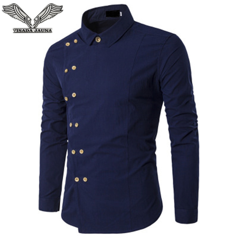 VISADA JAUNA 2018 Men Fashion Clothing Mens Shirts Regular Fit New Mens Double Breasted Slim Long-sleeved Shirt Big Size N8827