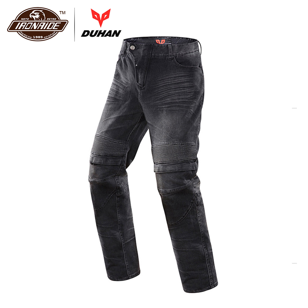 цена DUHAN Men's Motorcycle Jeans Motorbike Riding Biker Trousers Denim Motorcycle Pants Men Moto Pants Knee Guards Protective Gear