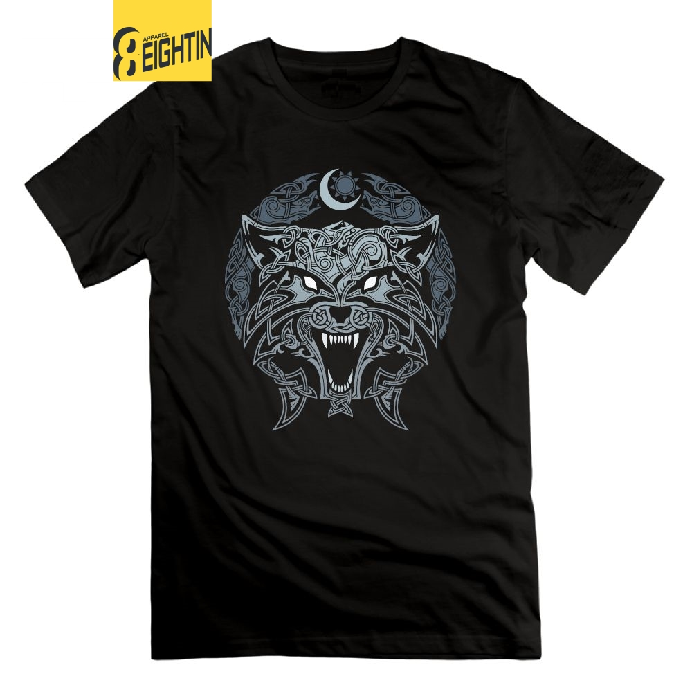 Eightin Wolves Of Ragnarok Vikings Valhalla Odin T Shirt Man's Hipster Short Sleeves Crew Neck Novelty T-Shirt 100% Cotton Tees