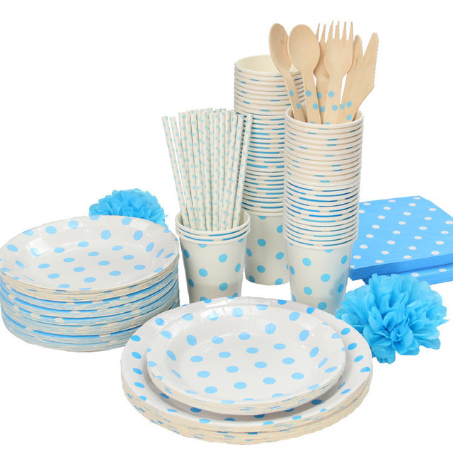 Baby Blue Polka Dots Tableware Party paper plate cups napkins paper straw Boy baby shower  sc 1 st  AliExpress.com & Baby Blue Polka Dots Tableware Party paper plate cups napkins paper ...