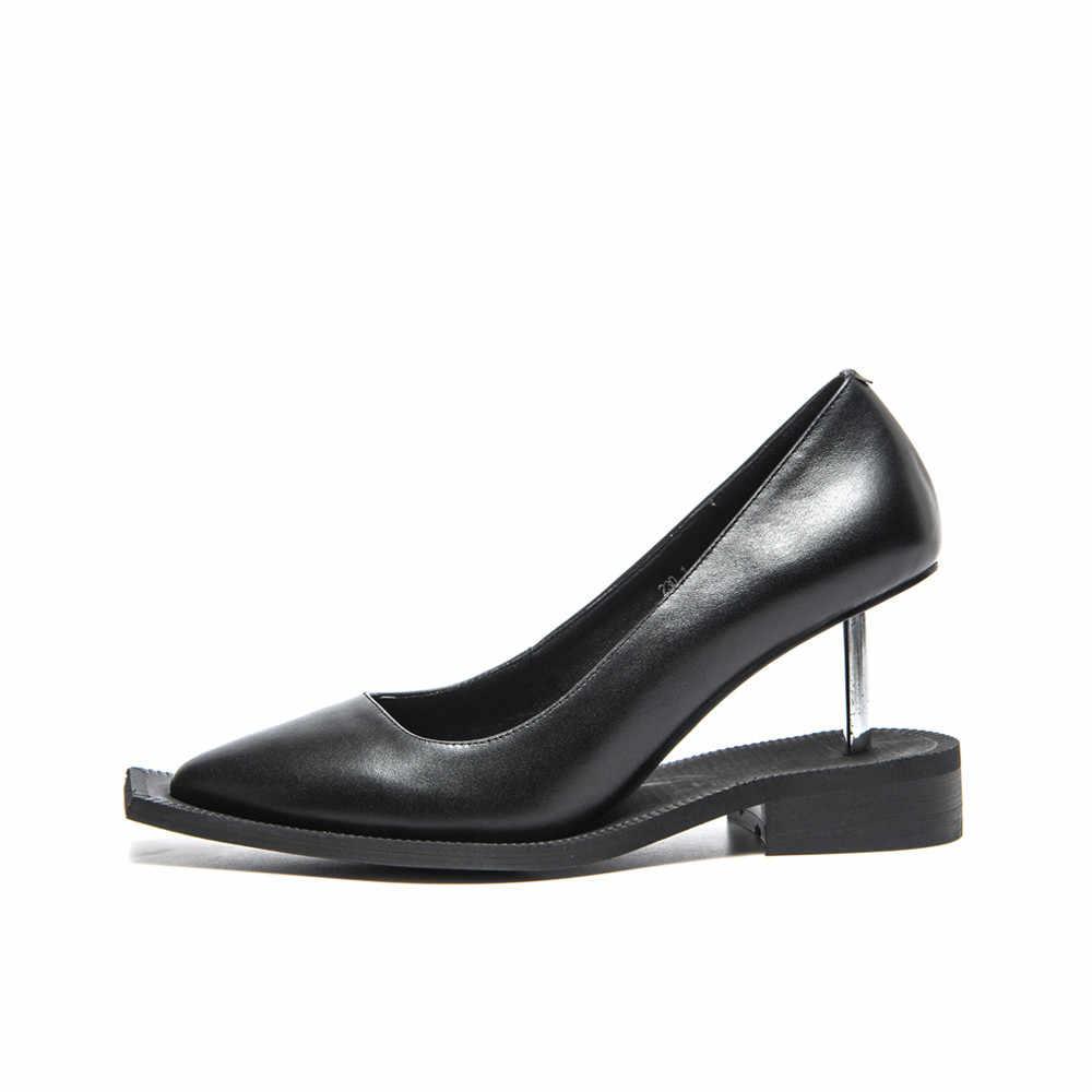 Scivolo Sandalo Unico Chiodo di Alta Talloni Delle Donne Del Progettista Scarpe A Punta Scarpe A Punta Del Cuoio Genuino di Scarpe di Marca Donna di Colore HM01 MUYISEXI