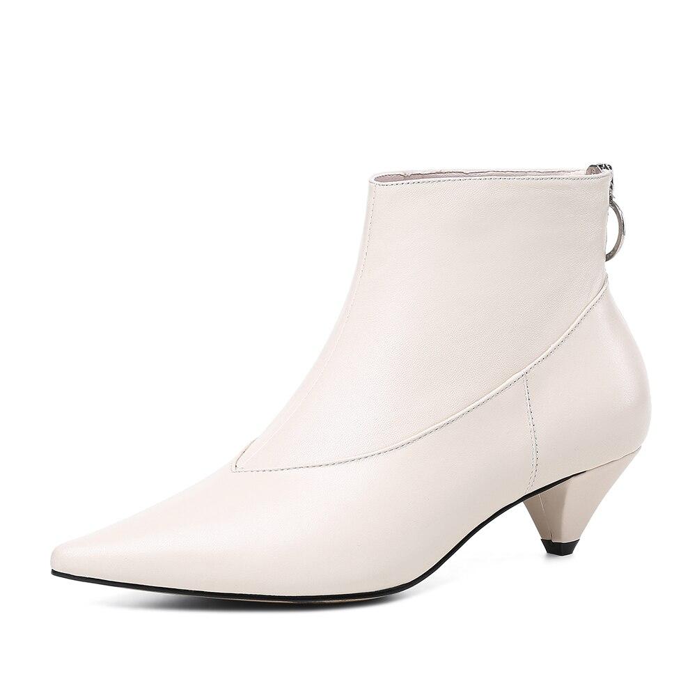 Nouveautés Dame Officel Gros Chaussons Zipper Femme Bottes noir En Femmes Retour Cheville Sarairis Beige Chaussures Élégant Véritable Cuir CxEQreWdBo