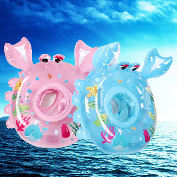 Small Crab Cartoon Animal Seat Baby Swimming Ring Kids Inflatable Pool Float Toy Thick High Quality