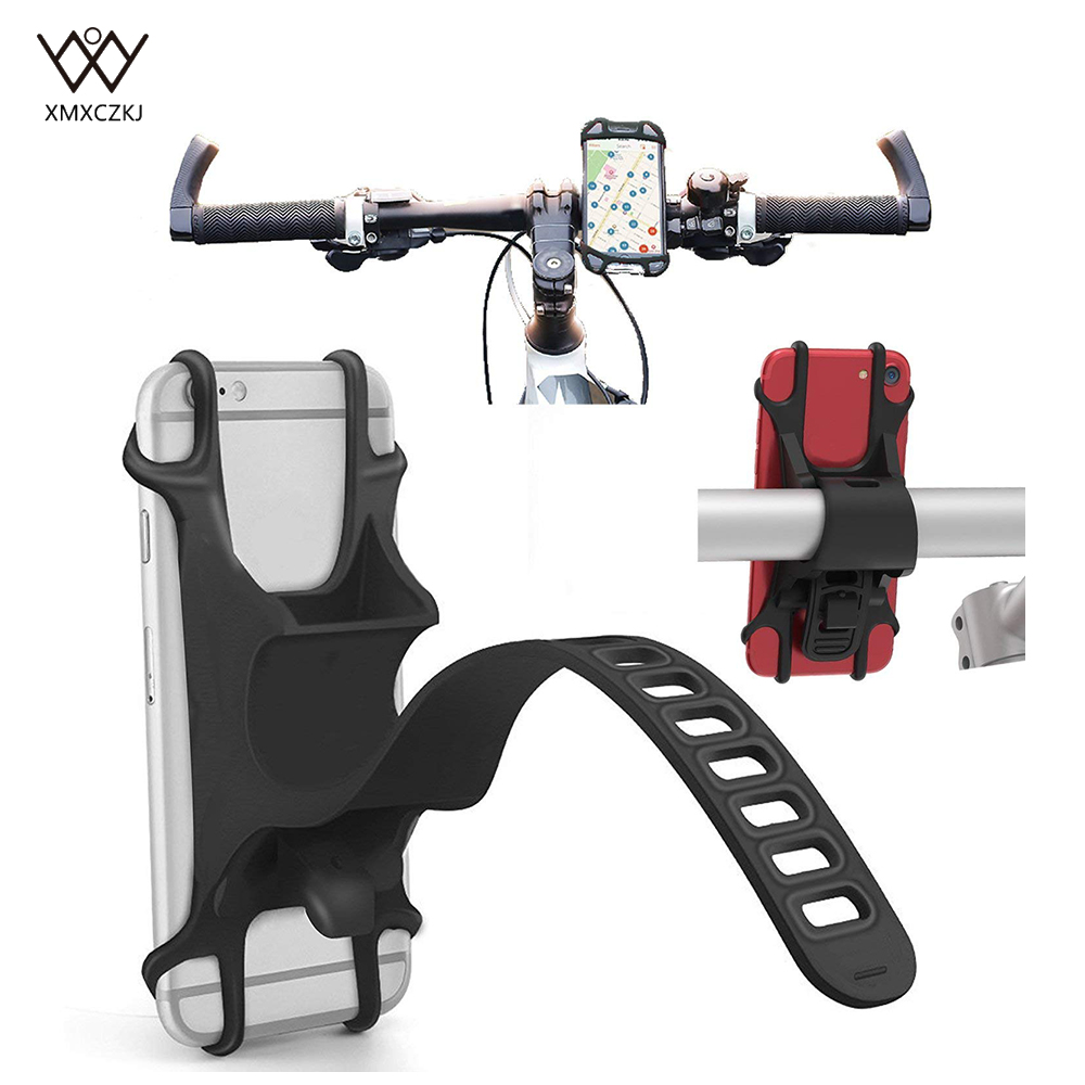 Universal Bike Phone Holder Bicycle Handlebar Stroller Mount For 4-6 Inch Cell Phone Adjustable Silicone Handlebar Motorcycle