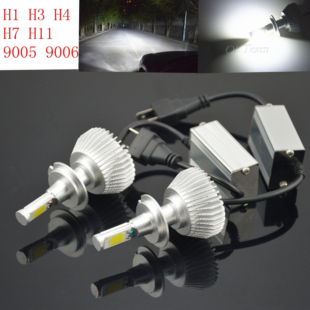 2x H1 H3 H4 H7 H11 Headlight Conversion Kit 80W 6000K 12V/24V Head Car Xenon White Lamp High Low Kit Globes Bulbs LED headlight