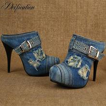 Женские джинсовые сандалии гладиаторы на высоком каблуке с пряжкой