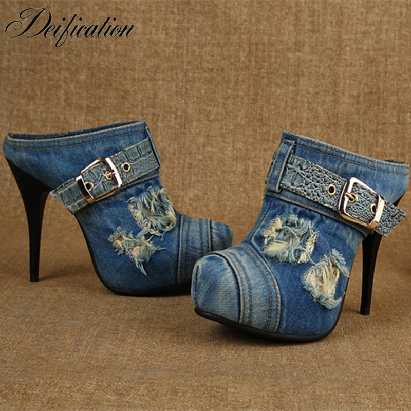 Deification Buckle Strap High Heels Jeans Gladiator Sandals Zapatos Mujer Denim Sandals Mules Slippers Denim Party Shoes Woman