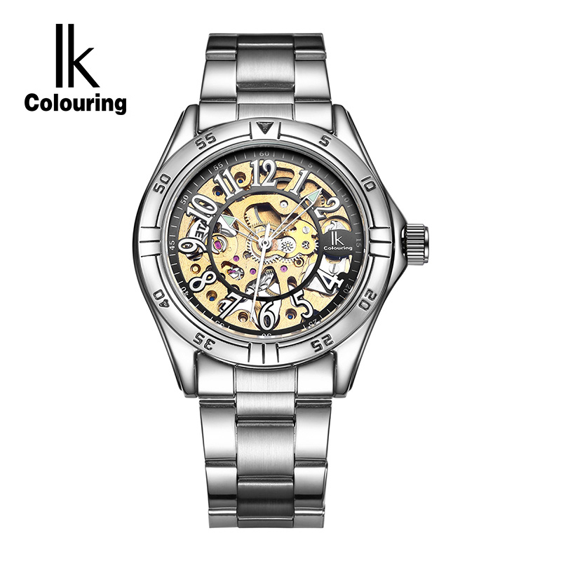 IK Colouring Gold Skeleton Mechanical Hand Wind Watches Men Luxury Brand Business Dress Silver Steel Band Watch Clock relogio men luxury brand casual gold full steel band skeleton automatic self wind mechanical hand wind goden relogio for man wrist watch