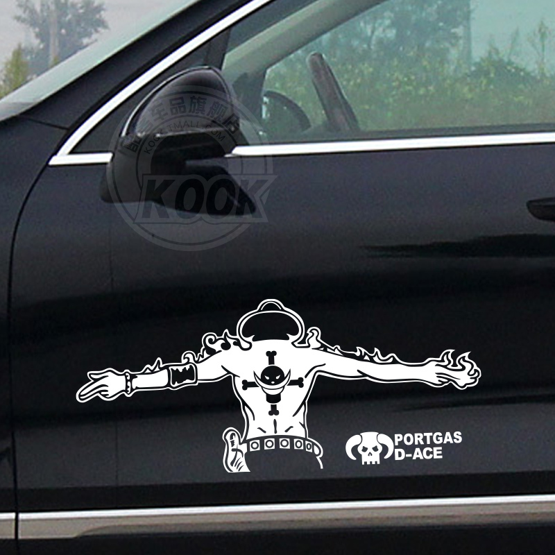 (12 pieces/lot) One Pieces Fire boxing Potter Cass D ace the straw hat pirates Car Sticker For Golf MK7 Mazda CX 5 Jetta MK6