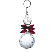 2PCS Clear and Red 30mm Glass Crystal Ball Christmas Snowman Hanging Pendants Suncatcher Chandelier Part Prism